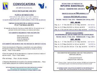 SERVICIO SOCIAL EN  ITM  (INTERNO) Y/O DIFERENTES  ESCUELAS  (EXTERNO )