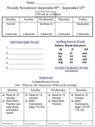 Weekly Newsletter: September 8 th  – September 12 th