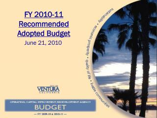 FY 2010-11 Recommended Adopted Budget