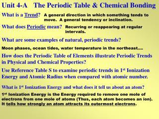 Unit 4-AThe Periodic Table & Chemical Bonding