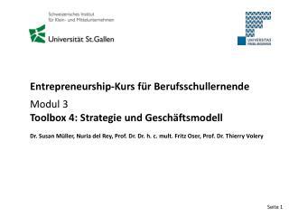 Entrepreneurship-Kurs für Berufsschullernende Modul 3 Toolbox 4: Strategie und Geschäftsmodell