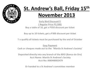 St. Andrew's Ball, Friday 15 th  November 2013