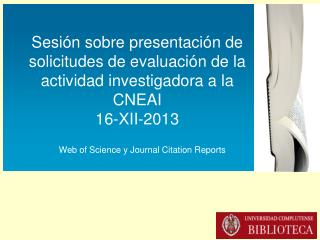 Web of Science y Journal Citation Reports