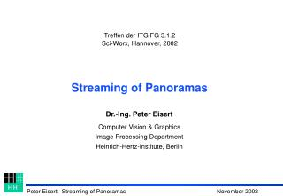 Streaming of Panoramas