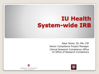 IU Health  System-wide IRB