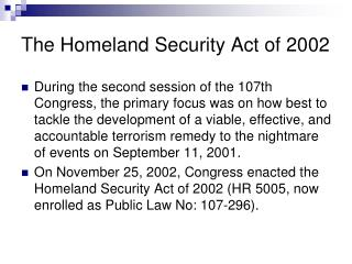The Homeland Security Act of 2002