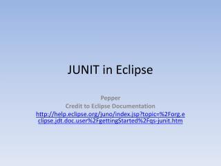 JUNIT in Eclipse
