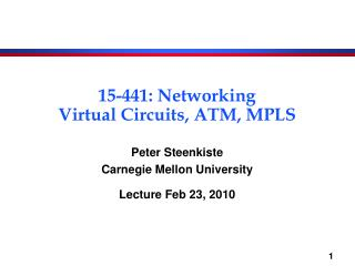 15-441: Networking Virtual Circuits, ATM, MPLS