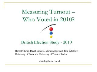 Measuring Turnout    Who Voted in 2010