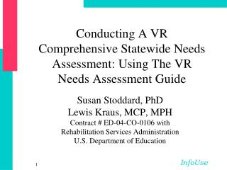 Conducting A VR Comprehensive Statewide Needs Assessment: Using The VR Needs Assessment Guide
