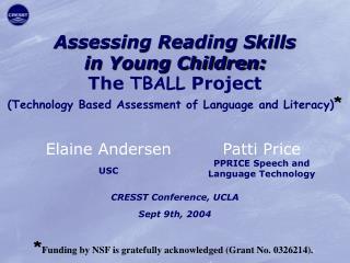 CRESST Conference, UCLA Sept 9th, 2004