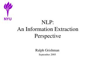 NLP: An Information Extraction Perspective