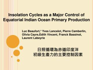 Insolation Cycles as a Major Control of Equatorial Indian Ocean Primary Production