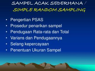 SAMPEL ACAK SEDERHANA  / SIMPLE RANDOM SAMPLING