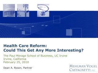 Health Care Reform: Could This Get Any More Interesting?