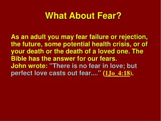 What About Fear?