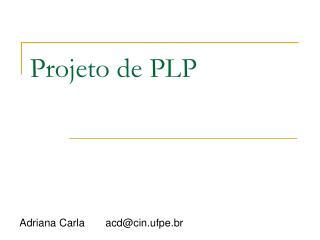 Projeto de PLP