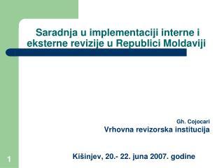 Saradnja u implementaciji interne i eksterne revizije u Republici Moldaviji