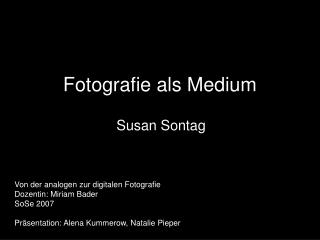 Fotografie als Medium