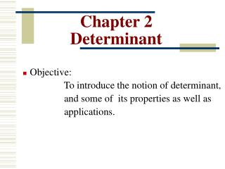 Chapter 2 Determinant