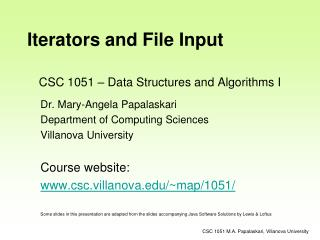 CSC 1051 � Data Structures and Algorithms I