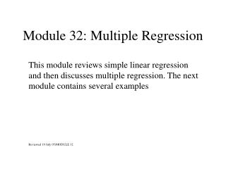 Module 32: Multiple Regression