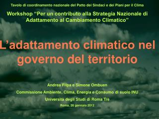 Tavolo di coordinamento nazionale del Patto dei Sindaci e dei Piani per il Clima