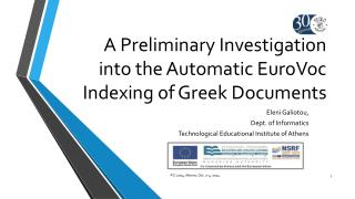 A Preliminary Investigation into the Automatic EuroVoc Indexing of Greek Documents