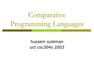 Comparative Programming Languages