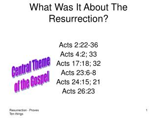 What Was It About The Resurrection?