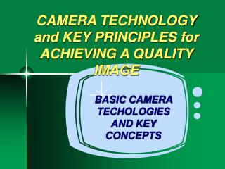 CAMERA TECHNOLOGY and KEY PRINCIPLES for ACHIEVING A QUALITY IMAGE