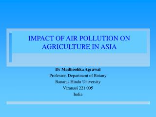 IMPACT OF AIR POLLUTION ON AGRICULTURE IN ASIA