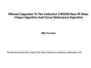 RRecent Upgrades To The Collection 5 MODIS Near-IR Water