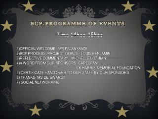 BCP-PROGRAMME OF EVENTS
