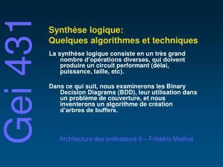 Synthèse logique: Quelques algorithmes et techniques