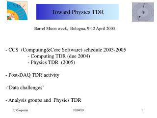 Toward Physics TDR