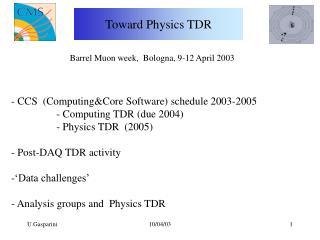 Toward Physics TDR