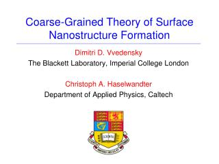Coarse-Grained Theory of Surface Nanostructure Formation