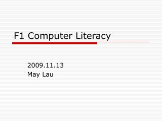 F1 Computer Literacy