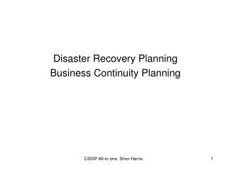 Disaster Recovery Planning Business Continuity Planning