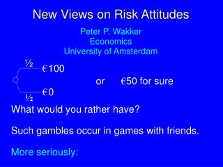 New Views on Risk Attitudes Peter P. Wakker Economics University of Amsterdam