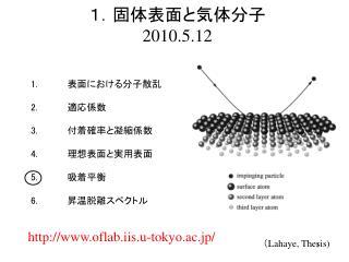 1.固体表面と気体分子 2010.5.12