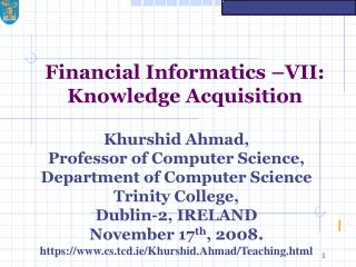 Financial Informatics –VII: Knowledge Acquisition