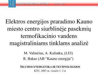"""M. Valinčius, A. Kaliatka, (LEI) R. Bakas (AB """"Kauno energija"""")"""