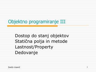 Objektno programiranje III