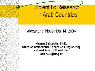 Scientific Research  in Arab Countries