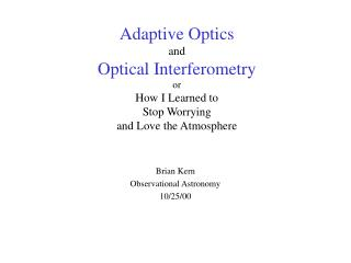 Brian Kern Observational Astronomy 10/25/00