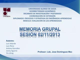 MEMORIA GRUPAL SESIÓN 02/11/2013