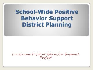 School-Wide Positive Behavior Support District Planning