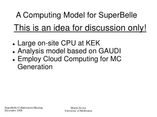A Computing Model for SuperBelle